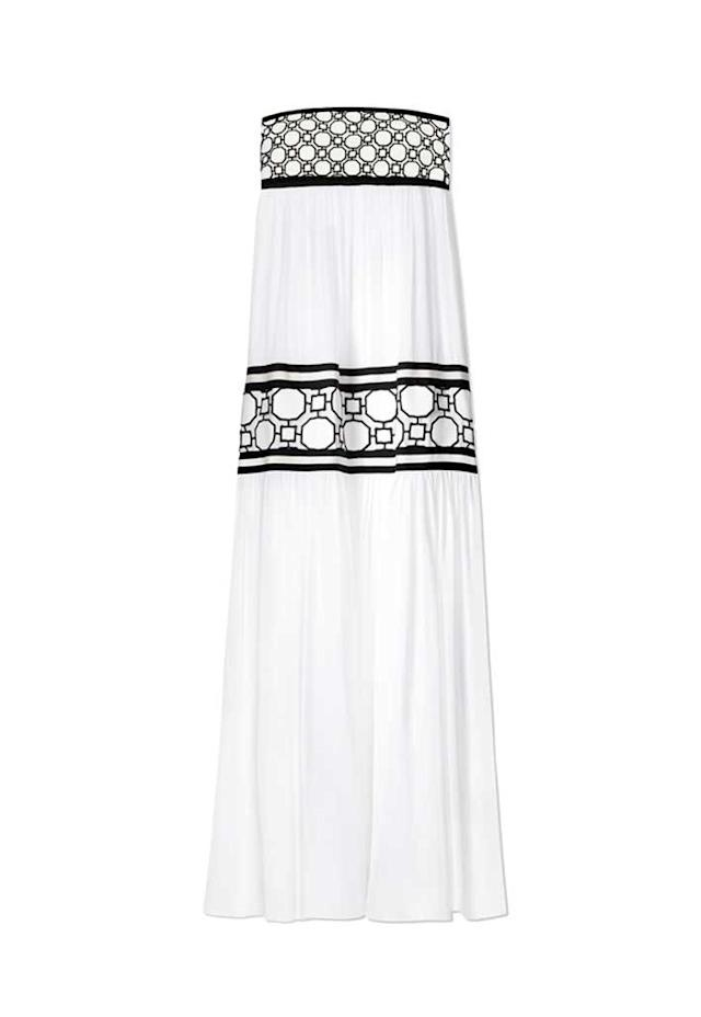 Strapless black and white silk georgette maxi dress. (Photo: Tory Burch)
