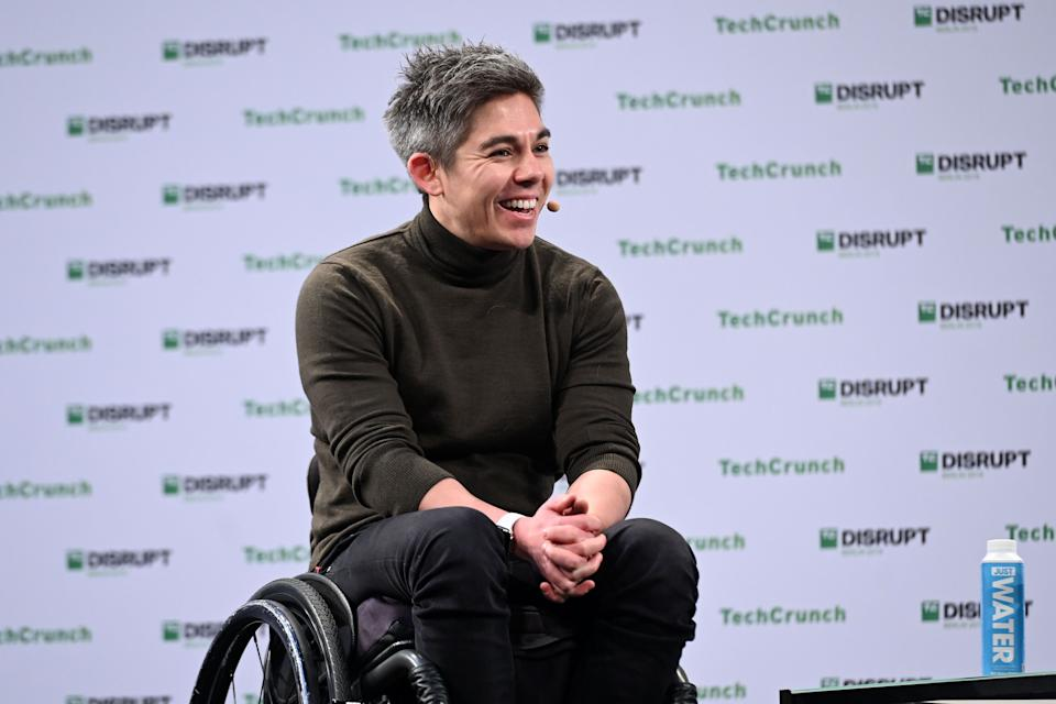 BERLIN, GERMANY - DECEMBER 11: Co-founder & CEO of GoCardless Hiroki Takeuchi speaks on stage at TechCrunch Disrupt Berlin 2019 at Arena Berlin on December 11, 2019 in Berlin, Germany. (Photo by Noam Galai/Getty Images for TechCrunch)