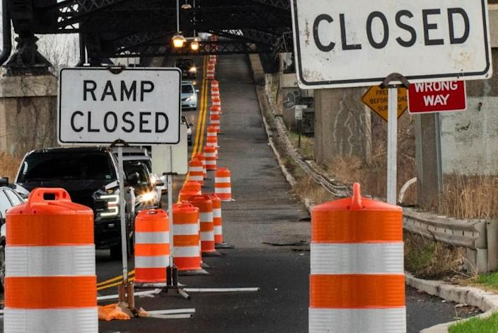 A street is closed due to work in the road in Jersey City