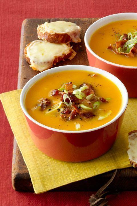 """<p>After the soup is ready, make sure to sprinkle bacon on top. </p><p><strong><a href=""""https://www.countryliving.com/food-drinks/recipes/a33690/butternut-squash-soup-recipe-wdy1112/"""" rel=""""nofollow noopener"""" target=""""_blank"""" data-ylk=""""slk:Get the recipe"""" class=""""link rapid-noclick-resp"""">Get the recipe</a>.</strong> </p>"""
