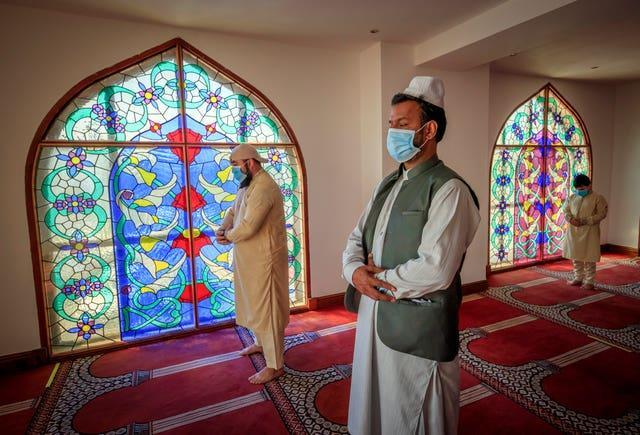 Worshippers observe social distancing at the Bradford Central Mosque