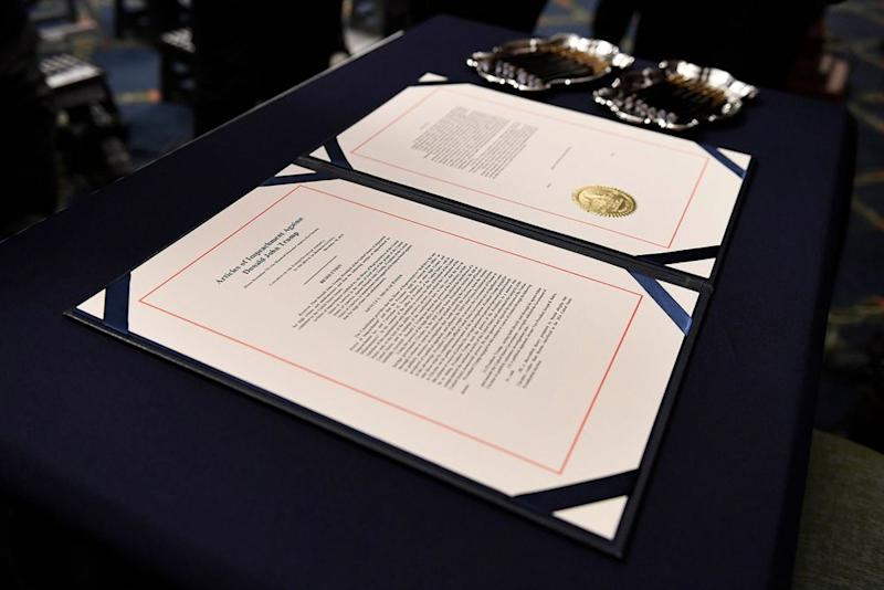 The articles of impeachment against President Donald Trump.
