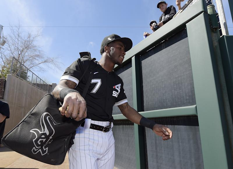 White Sox shortstop Tim Anderson walks onto the field at Camelback Ranch in Arizona, where he's working in spring training, preparing to defend his American League batting title. (Photo by Ron Vesely/Getty Images)