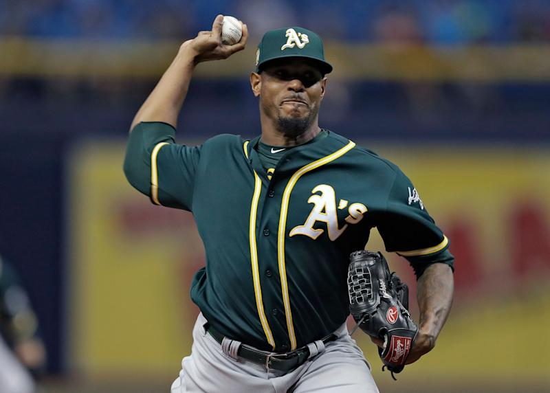 Oakland Athletics pitcher Edwin Jackson delivers to the Tampa Bay Rays during the first inning of a baseball game Friday, Sept. 14, 2018, in St. Petersburg, Fla. (AP Photo/Chris O'Meara)