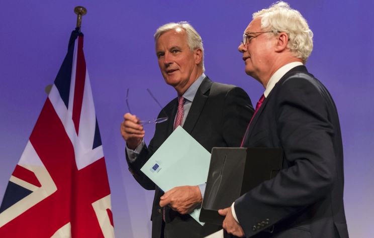 EU chief negotiation Michael Barnier and Brexit secretary David Davis in Brussels on Monday (Picture: Rex)