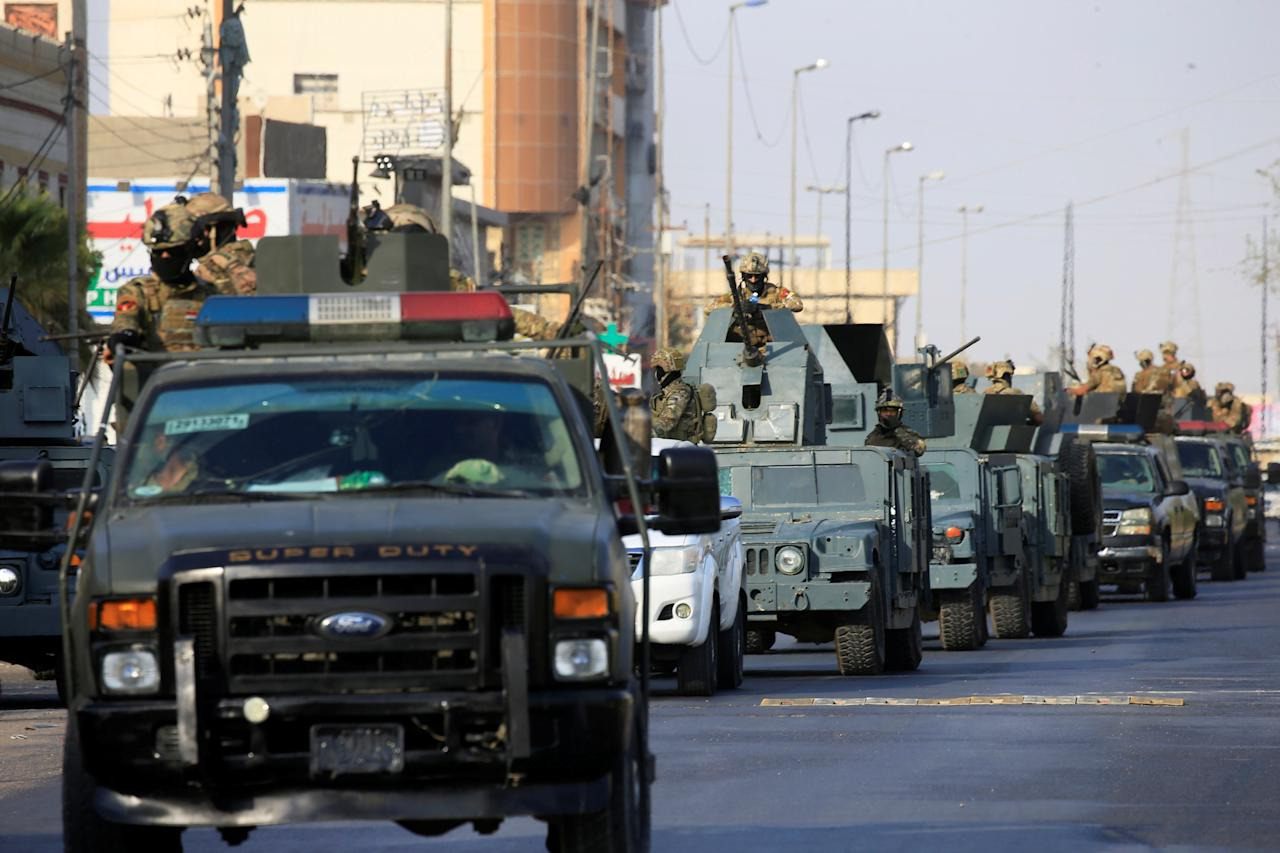 <p>Vehicles of Iraqi rapid response forces are seen on a street in Basra, Iraq, Sept. 8, 2018. (Photo: Alaa al-Marjani/Reuters) </p>