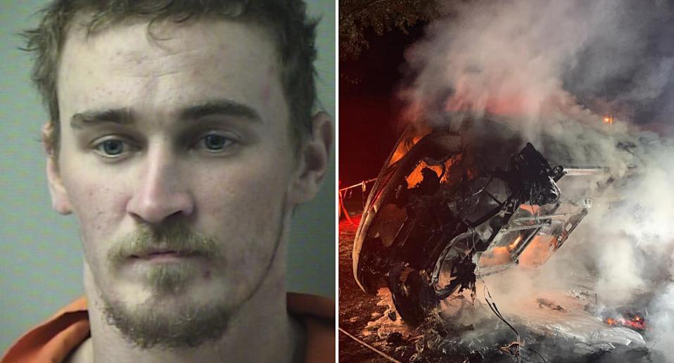 Kevin Robert Murphy, 28, is pictured alongside a car he's accused of torching.