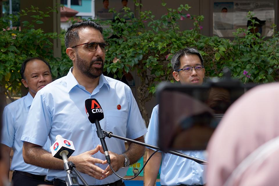 Workers' Party chief Pritam Singh speaking during a media doorstop.