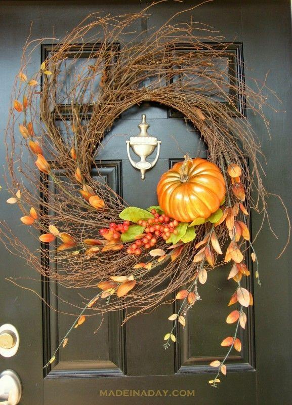 """<p>If you're looking for a wreath that is simple to make yet offers a dramatic statement, this is the perfect fall accessory to spruce up your front door. </p><p><strong>Get the tutorial at <a href=""""http://madeinaday.com/2012/08/26/autumn-wispy-wreath/"""" rel=""""nofollow noopener"""" target=""""_blank"""" data-ylk=""""slk:Made in a Day"""" class=""""link rapid-noclick-resp"""">Made in a Day</a>. </strong></p>"""