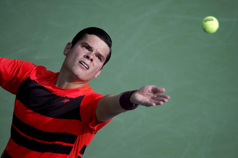 Milos Raonic of Canada serves to Fernando Verdasco of Spain during their match at the U.S. Open Championships tennis tournament in New York, September 2, 2015. REUTERS/Mike Segar