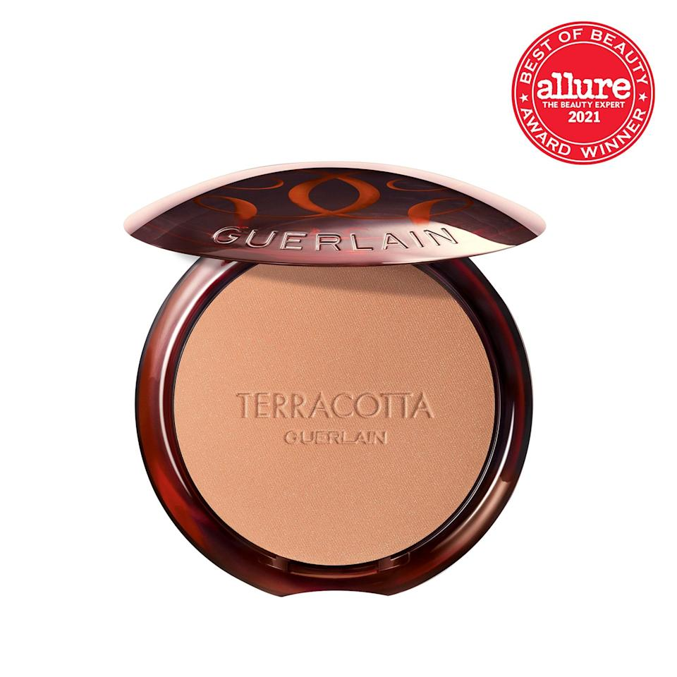 """Laced with naturally derived light reflectors and nourishing argan oil, <strong>Guerlain Terracotta The Bronzing Powder</strong> produces the most believable <a href=""""https://www.allure.com/gallery/best-bronzers-for-every-skin-tone?mbid=synd_yahoo_rss"""" rel=""""nofollow noopener"""" target=""""_blank"""" data-ylk=""""slk:bronze under the sun"""" class=""""link rapid-noclick-resp"""">bronze under the sun</a> — but without, you know, the sun."""