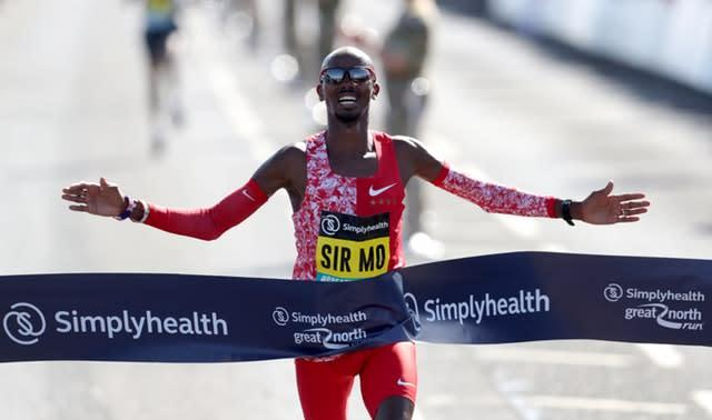 Sir Mo Farah wins the Men's Elite Race during the Great North Run in Newcastle (Richard Sellers/PA)