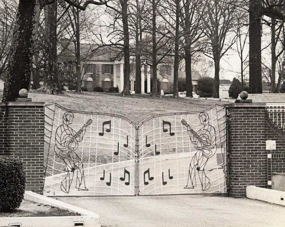 "<p>One of the more famous personal touches Elvis made to the estate was the music gates he installed at the front entrance. The King of Rock 'n' Roll <a href=""https://www.graceland.com/elvis-at-graceland"" rel=""nofollow noopener"" target=""_blank"" data-ylk=""slk:added the eccentric entrance"" class=""link rapid-noclick-resp"">added the eccentric entrance</a> two months before he even moved onto the property. </p>"