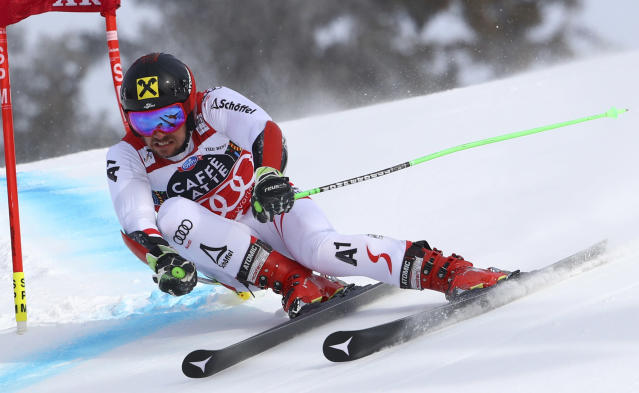 Austria's Marcel Hirscher competes during a men's giant slalom at the alpine ski World Cup finals in Are, Sweden, Saturday, March 17, 2018. (AP Photo/Alessandro Trovati)