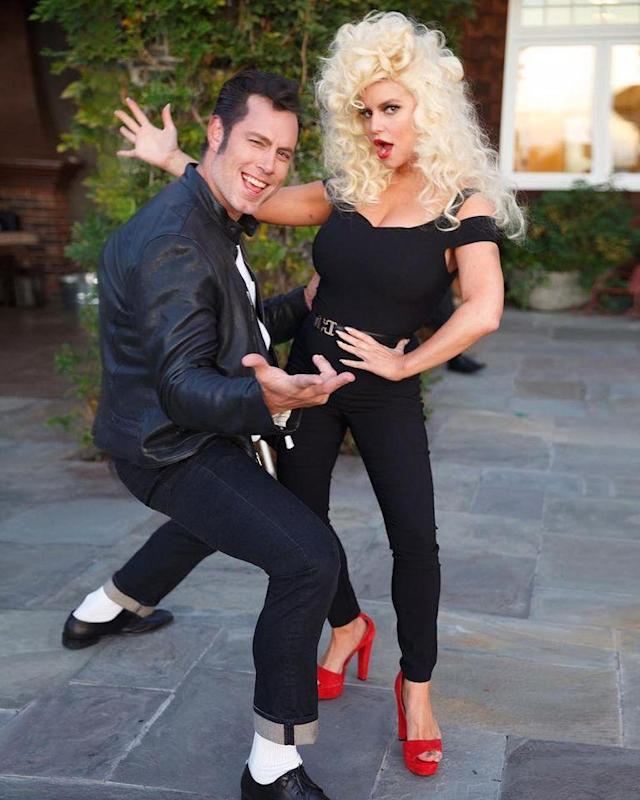 "<p>The fashion mogul and hubby Eric Johnson got <em>Grease</em>-y! She joked that they were, ""Danny Zuko and 'Sandra Double Dee.'"" (Photo: <a href=""https://www.instagram.com/p/BMSEl2KjtW1/?taken-by=jessicasimpson&hl=en"" rel=""nofollow noopener"" target=""_blank"" data-ylk=""slk:Instagram"" class=""link rapid-noclick-resp"">Instagram</a>) </p>"