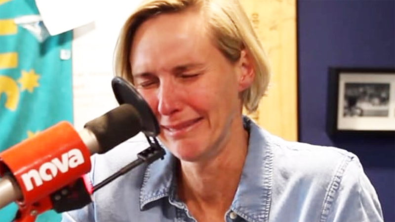 Susie O'Neill, pictured here in tears during her radio show.