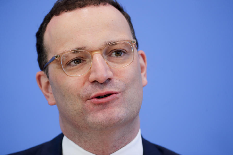 German Health Minister Jens Spahn attends a news conference on the coronavirus pandemic and the COVID-19 disease, in Berlin, Germany, Friday, June 18, 2021. Germany's health minister says the country has now given a first coronavirus vaccine shot to more than half of its population. (Hannibal Hanschke/Pool via AP)