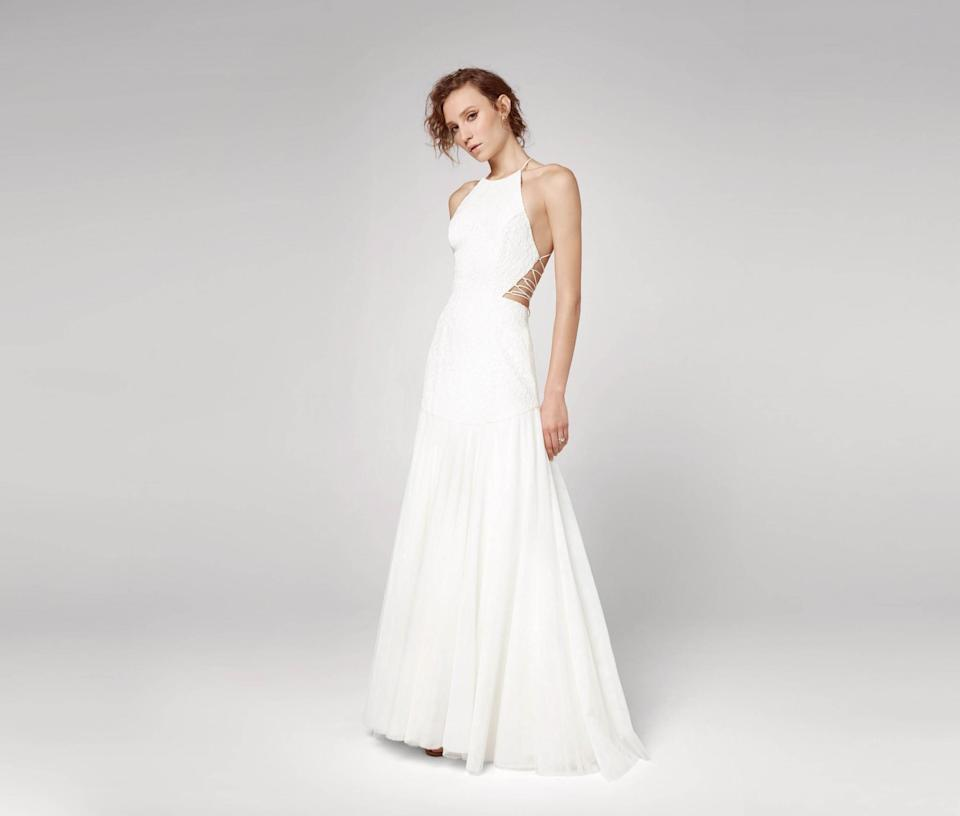 "<p>Dress, $699, <a href=""https://www.fameandpartners.com/dresses/dress-the-kensie-1301?color=ivory"" rel=""nofollow noopener"" target=""_blank"" data-ylk=""slk:fameandpartners.com"" class=""link rapid-noclick-resp"">fameandpartners.com</a> </p>"