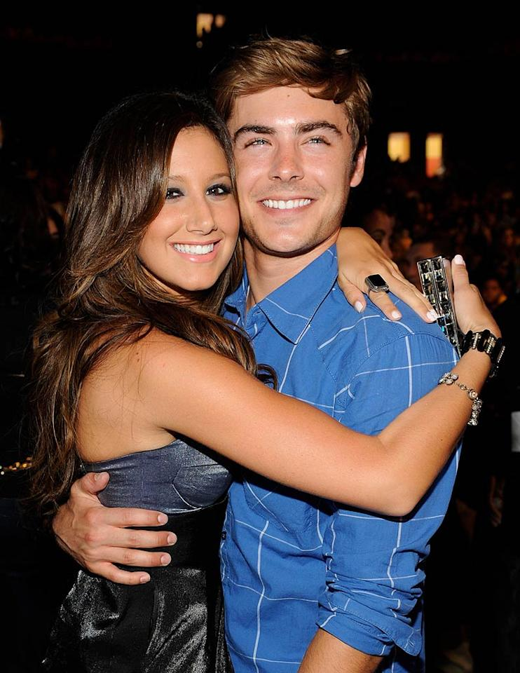 """Good thing they get along! """"High School Musical"""" cuties Ashley Tisdale and Zac Efron spend plenty of time together, thanks to The Tis' close gal pal and Zac's best girl, Vanessa Hudgens. Frank Micelotta/<a href=""""http://www.gettyimages.com/"""" target=""""new"""">GettyImages.com</a> - August 9, 2009"""