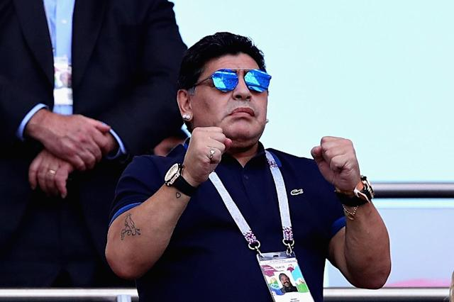 KAZAN, RUSSIA – JUNE 30: Former Argentina player and manager Diego Maradona looks on from the crowd during the 2018 FIFA World Cup Russia Round of 16 match between France and Argentina at Kazan Arena on June 30, 2018 in Kazan, Russia. (Photo by Chris Brunskill/Fantasista/Getty Images)