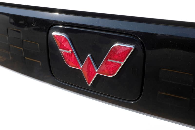 FILE PHOTO: Wuling logo is seen on an electric vehicle at a SAIC-GM-Wuling dealership in Beijing
