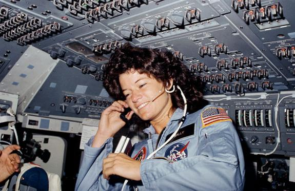 Seen on the flight deck of the space shuttle Challenger, astronaut Sally K. Ride, STS-7 mission specialist, became the first American woman in space on June 18, 1983.