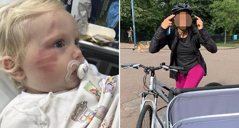 Freya Clancy, 1, pictured with a cyclist.