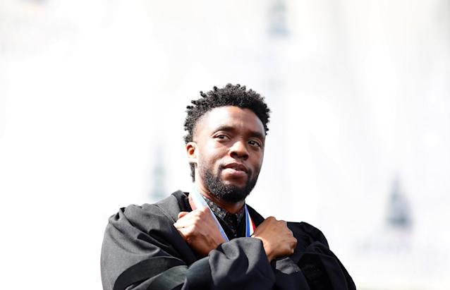 Actor Chadwick Boseman addresses the 150th commencement ceremony at Howard University in Washington. (Photo: Reuters/Eric Thayer)