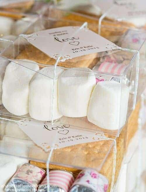 "<p>How cute is this for a rustic wedding favor your guests actually will use, er, devour! The DIY kit includes a tiny chocolate bar, graham crackers, and marshmallows. You even can personalize the candy bars with wraps in your wedding colors. </p><p><strong>See more at <a href=""https://mountainmodernlife.com/diy-smore-kits/"" rel=""nofollow noopener"" target=""_blank"" data-ylk=""slk:Mountain Modern Life"" class=""link rapid-noclick-resp"">Mountain Modern Life</a>. </strong></p>"