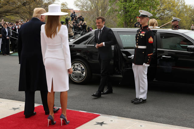 <p>President Donald Trump, first lady Melania Trump greet French President Emmanuel Macron during a State Arrival Ceremony on the South Lawn of the White House in Washington, Tuesday, April 24, 2018. (Photo: Pablo Martinez Monsivais/AP) </p>