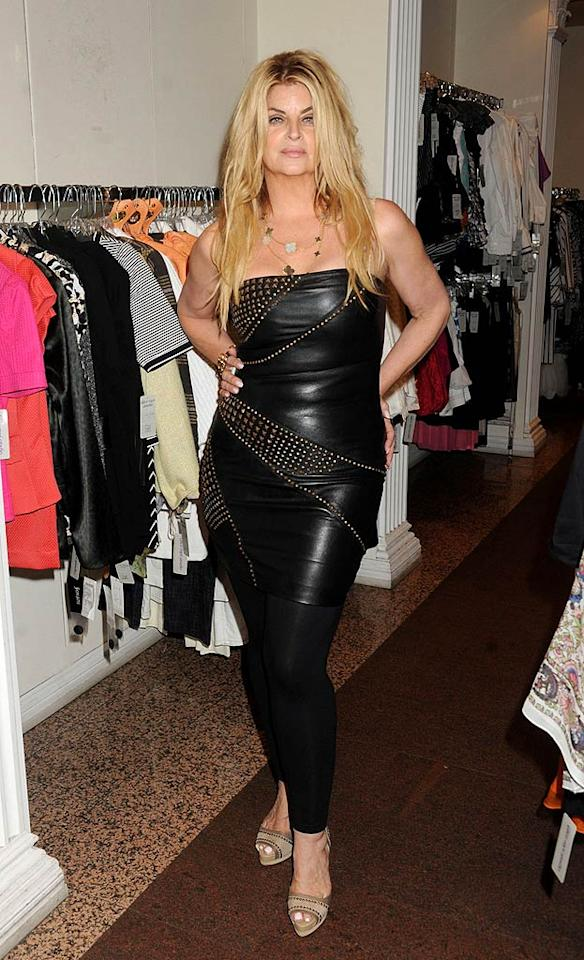 "Wow! Kirstie proved she's comfortable with her slimmed-down physique as she tried on a form-fitting leather mini-dress in a Queens boutique. Demis Maryannakis/<a href=""http://www.PacificCoastNews.com"" target=""new"">PacificCoastNews.com</a> - June 22, 2011"