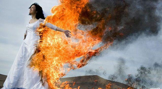 Another bride who decided who have her gown set alight. Source: John Michael Cooper