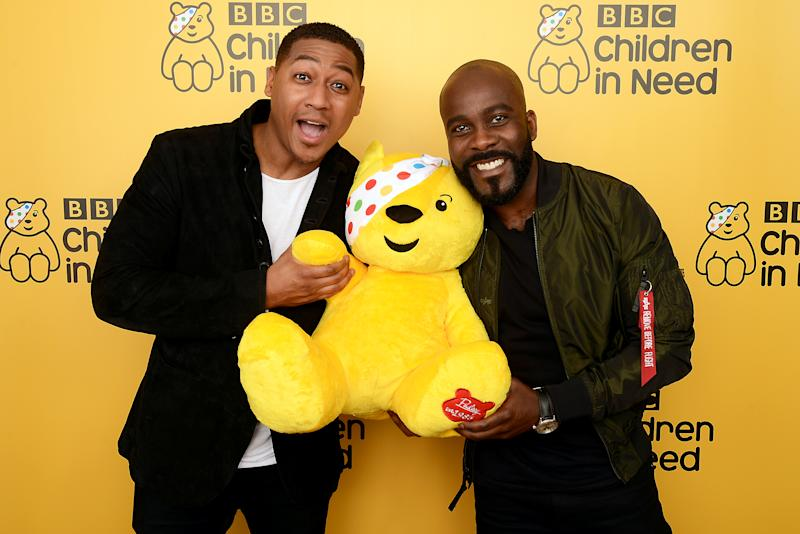 BOREHAMWOOD, ENGLAND - NOVEMBER 16: Rickie Haywood-Williams (L) and Melvin Odoom backstage at BBC Children In Need's 2018 appeal night at Elstree Studios on November 16, 2018 in Borehamwood, England. (Photo by Dave J Hogan/Dave J Hogan/Getty Images)