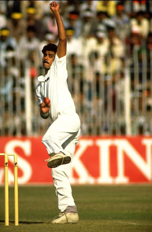 Undated:  Waqar Younis of Pakistan bowls during a match. \ Mandatory Credit: Ben  Radford/Allsport