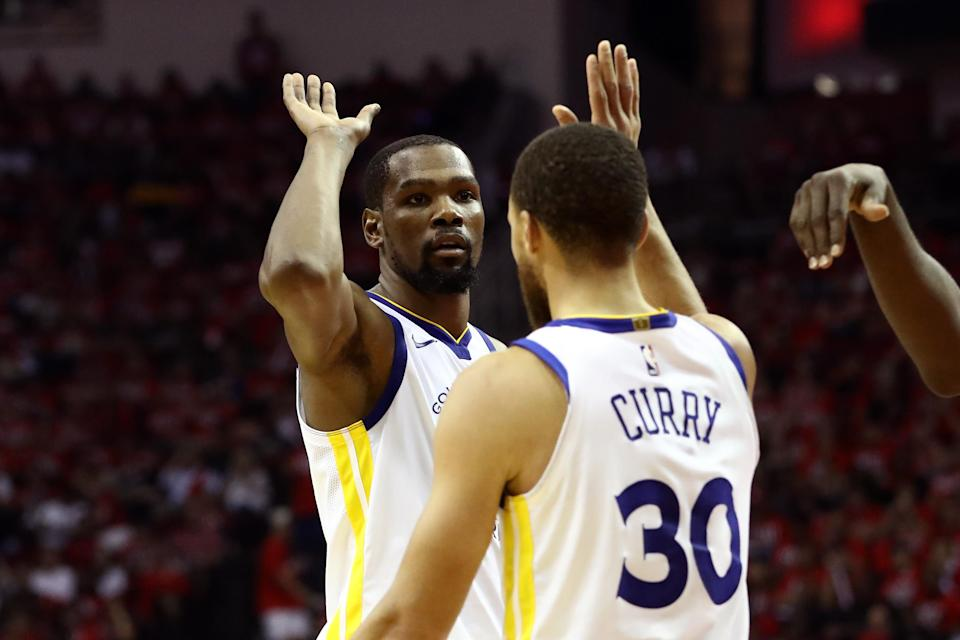 Kevin Durant was nearly unguardable in Game 1, staking the Warriors to a 1-0 lead over Houston in the 2018 Western Conference Finals. (Getty)