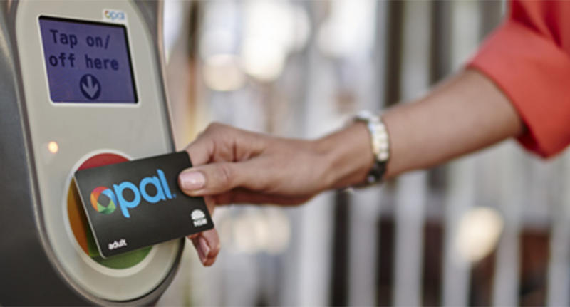 An opal card reader being used.