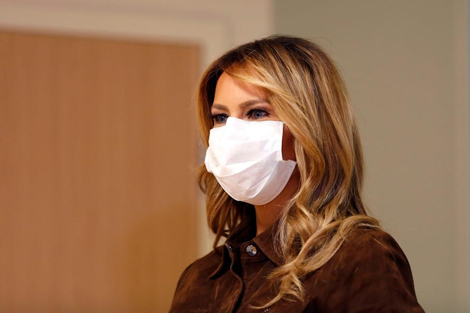 First lady Melania Trump wears a mask during a visit to Concord Hospital, Sept. 17, 2020, in Concord, N.H.