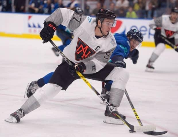 There is little doubt Connor McDavid, picturing competing at the 2016 World Cup, will centre Canada's top line at the Beijing Olympics. (Jacques Boissinot - image credit)
