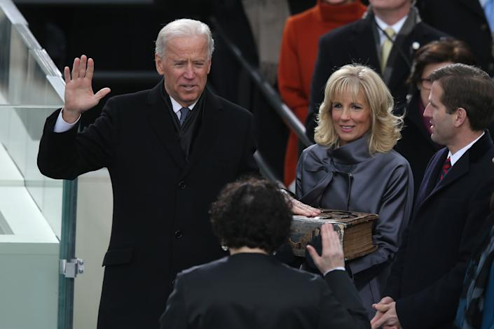 U.S. Vice President Joe Biden is sworn in by Supreme Court Justice Sonia Sotomayor as wife Dr. Jill Biden and Supreme Court Justice Sonia Sotomayor Beau Biden look on during the presidential inauguration on the West Front of the U.S. Capitol January 21, 2013 in Washington, DC. Barack Obama was re-elected for a second term as President of the United States. (Photo by Mark Wilson/Getty Images)