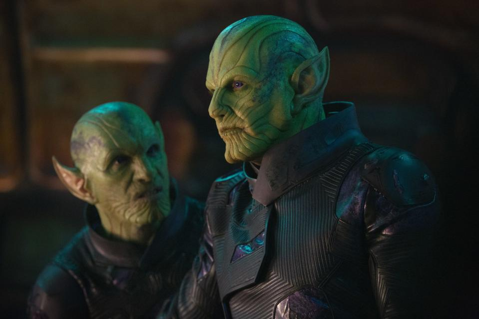 Skrulls Talos (R) and Soren (not pictured) appear in Far From Home (Credit: Marvel)