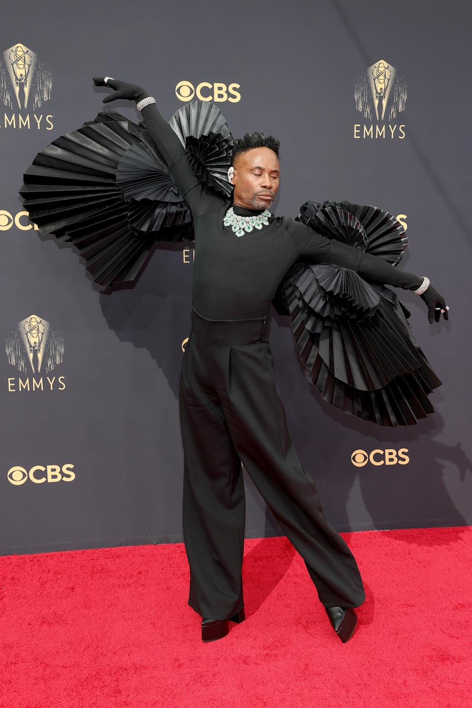 """Leave it to Billy Porter to bring pure opulence to the carpet. The pleated """"wings"""" of his Ashi top and that diamond necklace = perfection."""