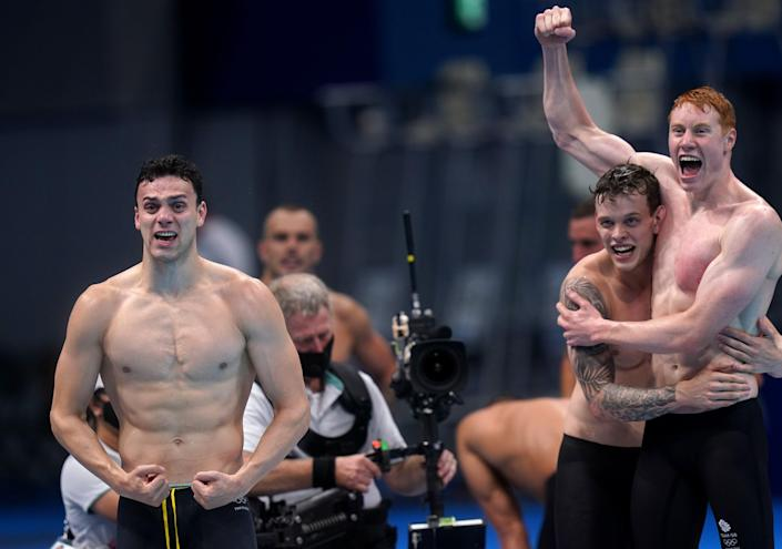 Guy, left, as Dean, right, celebrates with Richards (Adam Davy/PA) (PA Wire)