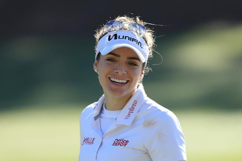 NAPLES, FLORIDA - NOVEMBER 21: Gaby Lopez of Mexico reacts on the second hole during the first round of the CME Group Tour Championship at Tiburon Golf Club on November 21, 2019 in Naples, Florida. (Photo by Sam Greenwood/Getty Images)