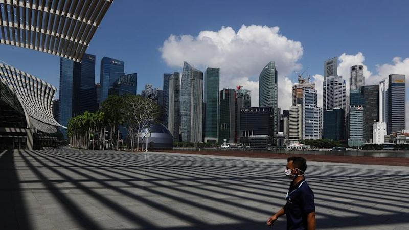 Singapore's central business district during its lockdown.