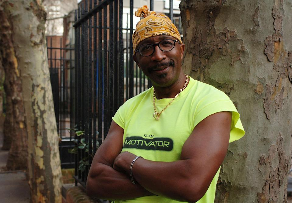 "Derrick Errol Evans, 47, also known as television personality and exercise instructor ""Mr Motivator,"" poses in Pimlico, London, whilst promoting his new fitness video.   (Photo by Clara Molden - PA Images/PA Images via Getty Images)"