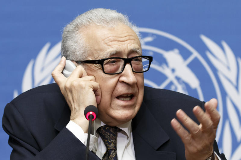 U.N. mediator for Syria Lakhdar Brahimi informs to media after the second day of the 2nd round of negotiation between the Syrian government and the opposition, during a press conference at the European headquarters of the United Nations, in Geneva, Switzerland, Tuesday, Feb. 11, 2014. (AP Photo/Keystone,Salvatore Di Nolfi)