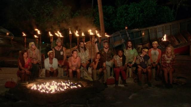 Merged tribe at Tribal Council on Survivor: Game Changers