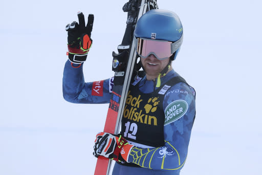 United States' Ryan Cochran Siegle reacts after completing an alpine ski men's World Cup downhill in Val Gardena, Italy, Saturday, Dec. 19, 2020. (AP Photo/Alessandro Trovati)