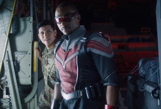Danny Ramirez and Anthony Mackie in The Falcon and the Winter Soldier