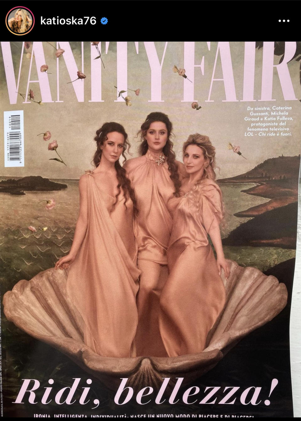 La copertina di Vanity Fair (Instagram Katia Follesa)